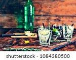 two glass of fresh mojito...   Shutterstock . vector #1084380500