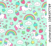 cute pastel hand drawn unicorn... | Shutterstock .eps vector #1084397789