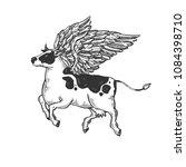 fake flying cow farm animal... | Shutterstock .eps vector #1084398710