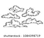clouds engraving vector... | Shutterstock .eps vector #1084398719