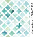 Stock photo hand painted turquoise watercolor flower like geometrical allover seamless pattern in repeat 1084409933