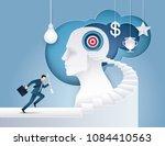 businessman hold arrow running... | Shutterstock .eps vector #1084410563