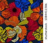 bright flowers on dark... | Shutterstock .eps vector #1084411586