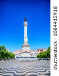 Small photo of Lisbon, Portugal, Portugal - August 20, 2016: Statue Dom Pedro IV, Rossio Square, Lisbon, Portugal