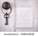 vintage key hanging on a old... | Shutterstock . vector #108442838