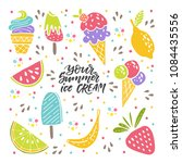 vector set of ice cream and... | Shutterstock .eps vector #1084435556