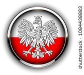 poland flag button with eagle ...   Shutterstock .eps vector #1084438883