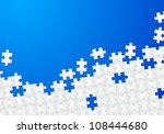 Raster version. Abstract Puzzle with Blue background. Illustration for design - stock photo