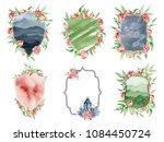 watercolor crest romantic frame ...   Shutterstock . vector #1084450724