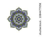 mandala. round ornament floral... | Shutterstock .eps vector #1084477058