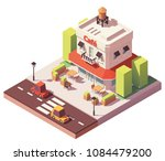 vector isometric cafe building... | Shutterstock .eps vector #1084479200