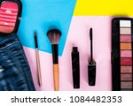 top view flat lay beauty make... | Shutterstock . vector #1084482353