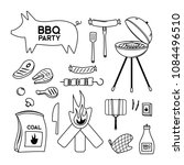 bbq grill meat barbecue... | Shutterstock .eps vector #1084496510