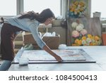 young woman with a mosaic in... | Shutterstock . vector #1084500413