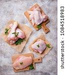 raw chicken meat fillet  thigh  ... | Shutterstock . vector #1084518983
