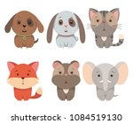 set of cartoon animals   funny... | Shutterstock .eps vector #1084519130