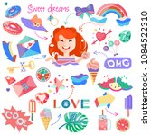 a set with picture of girl and... | Shutterstock .eps vector #1084522310