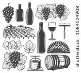 vintage wine elements set with... | Shutterstock .eps vector #1084524908