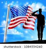 saluting soldier with a... | Shutterstock .eps vector #1084554260