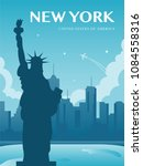 statue of liberty. world... | Shutterstock .eps vector #1084558316