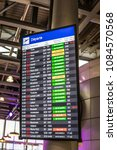 Small photo of Geneva, Switzerland, March 11, 2018, Airport, Flight information, arrival, departure board at the airport, Canceled, Delayed