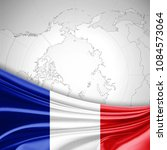 france flag of silk and world... | Shutterstock . vector #1084573064