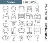 furniture line design icons set ... | Shutterstock .eps vector #1084576769