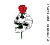 skull   rose romance | Shutterstock . vector #1084582976