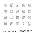 Stock vector simple set of approve related vector line icons contains such icons as inspector stamp check 1084592720