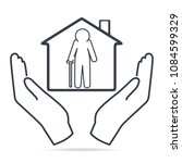 elderly man and home in hands... | Shutterstock .eps vector #1084599329