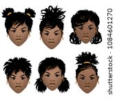set of faces of black girls... | Shutterstock .eps vector #1084601270
