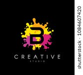 letter b logo at colorful paint ... | Shutterstock .eps vector #1084607420