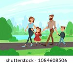 happy cartoon father  mother ... | Shutterstock .eps vector #1084608506