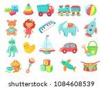 kids cartoon toys. baby doll ... | Shutterstock .eps vector #1084608539