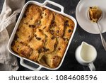 bread and butter pudding with... | Shutterstock . vector #1084608596