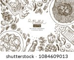 italian cuisine top view... | Shutterstock .eps vector #1084609013