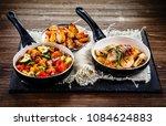 roast chicken breast with... | Shutterstock . vector #1084624883