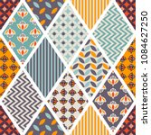 seamless pattern. patchwork.... | Shutterstock .eps vector #1084627250