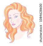 portrait of young beautiful... | Shutterstock .eps vector #1084628600