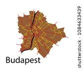 flat scheme of the budapest ... | Shutterstock .eps vector #1084633439