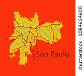 sao paulo  brazil  flat map... | Shutterstock .eps vector #1084634600