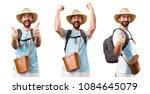 set of lucky funny tourist | Shutterstock . vector #1084645079