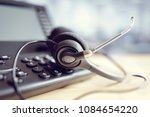 voip headset headphones and... | Shutterstock . vector #1084654220