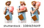 set of funny tourist holding a...   Shutterstock . vector #1084654649