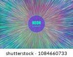 light rays. neon radial lines... | Shutterstock .eps vector #1084660733