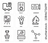 set of 9 simple editable icons... | Shutterstock .eps vector #1084673699