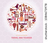 travel and tourism vector... | Shutterstock .eps vector #1084673978