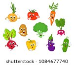 a set of cartoon vegetables | Shutterstock .eps vector #1084677740