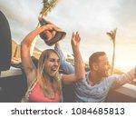 happy people having fun in... | Shutterstock . vector #1084685813