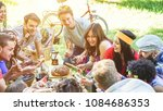 group of happy friends eating... | Shutterstock . vector #1084686353
